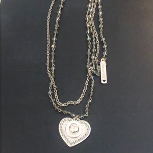 Sisi Amber heart layered necklace